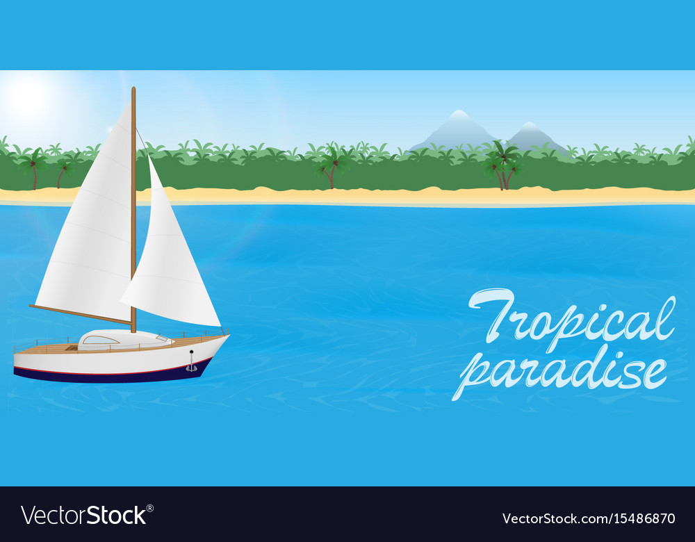 Summer travel to tropical paradise banner or vector image