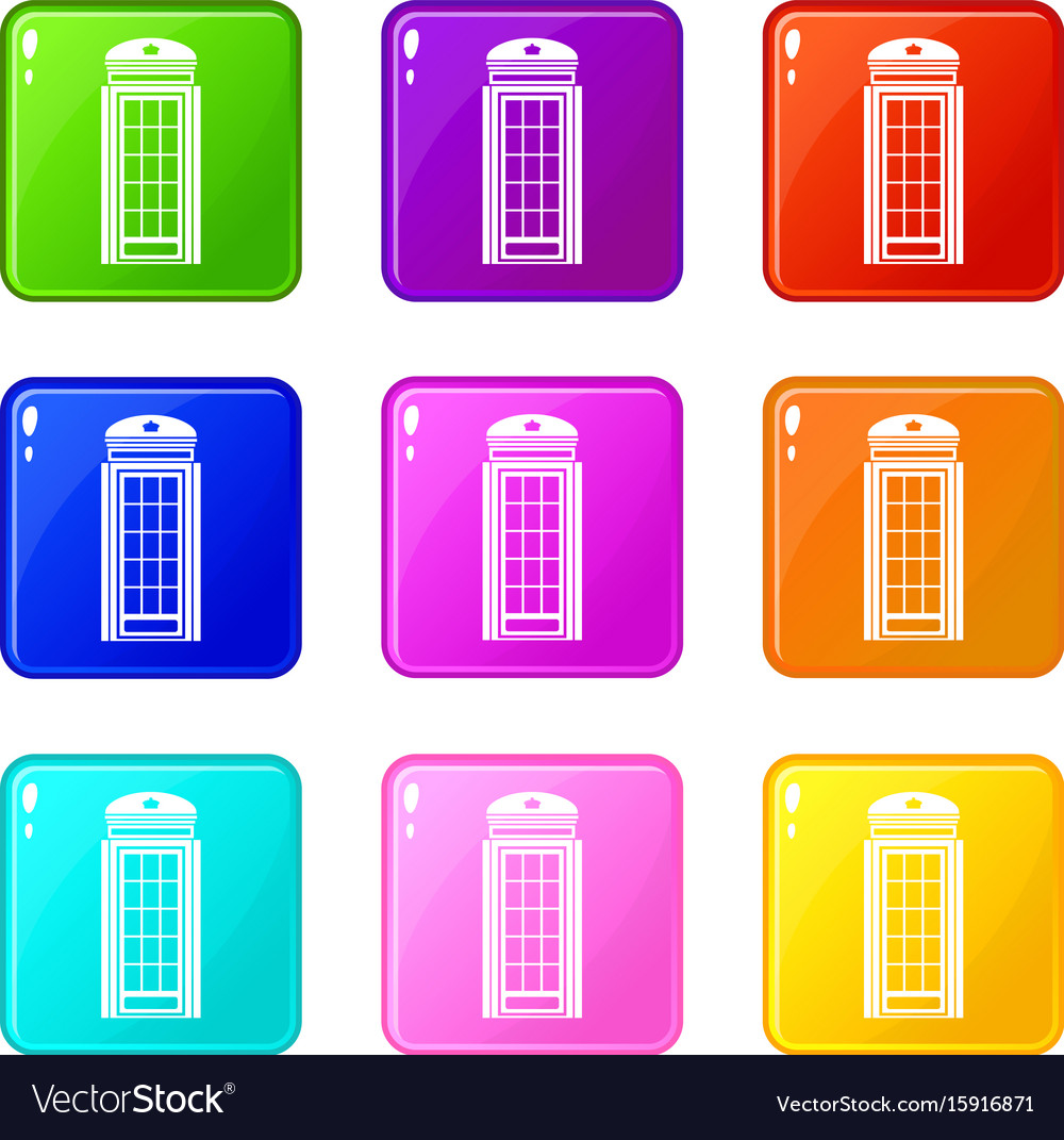 Phone booth icons 9 set vector image