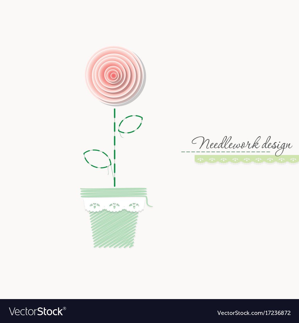 Embroidery rose cute design for greeting cards vector image kristyandbryce Image collections