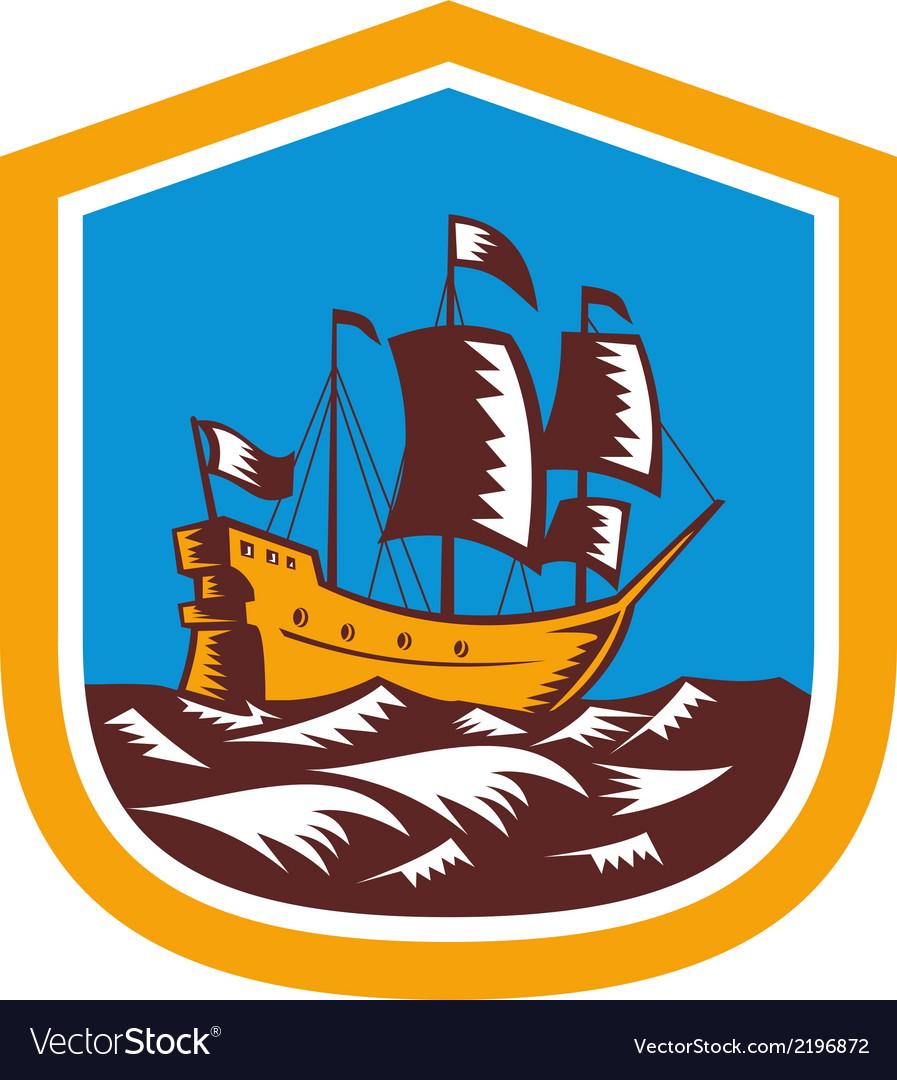 Sailing Ship Galleon Crest Retro Woodcut vector image