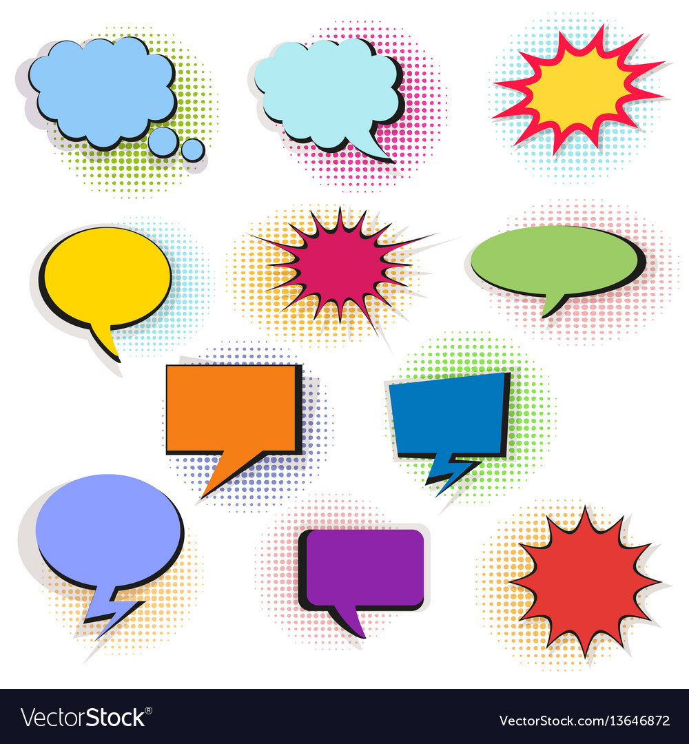 Set of colorful comic bubbles and elements with vector image