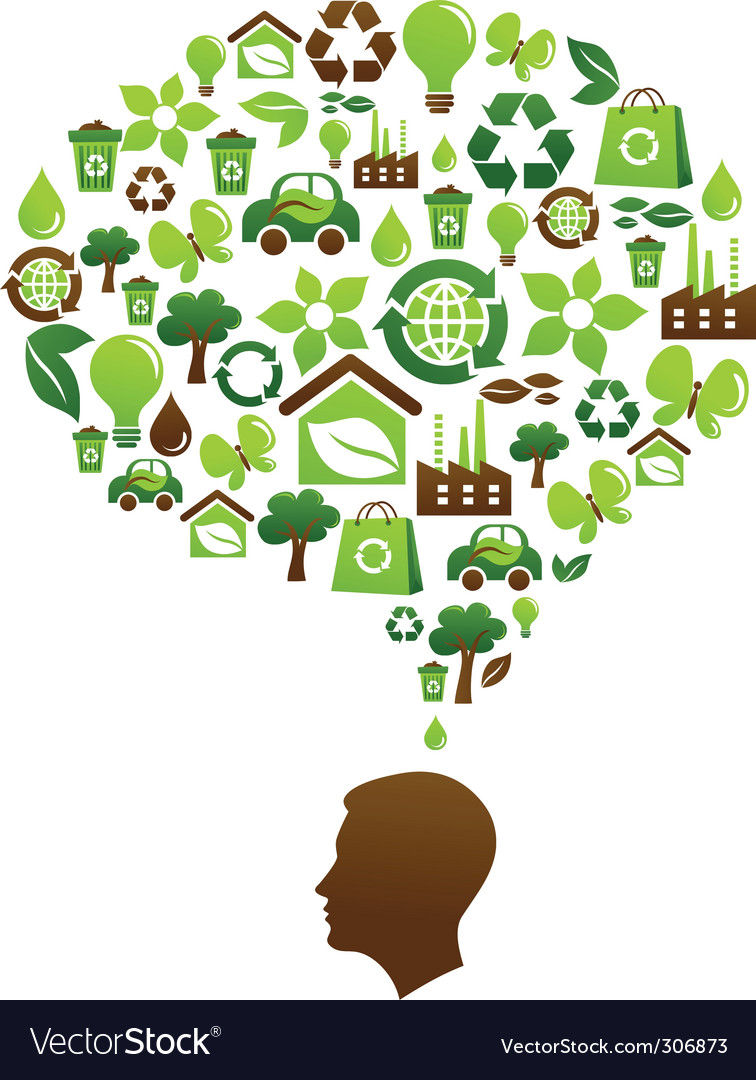 Brain and eco icons vector image