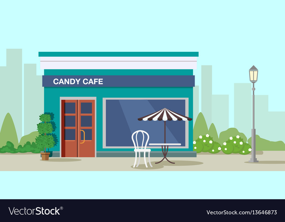 Candy cafe on the background of the city and vector image
