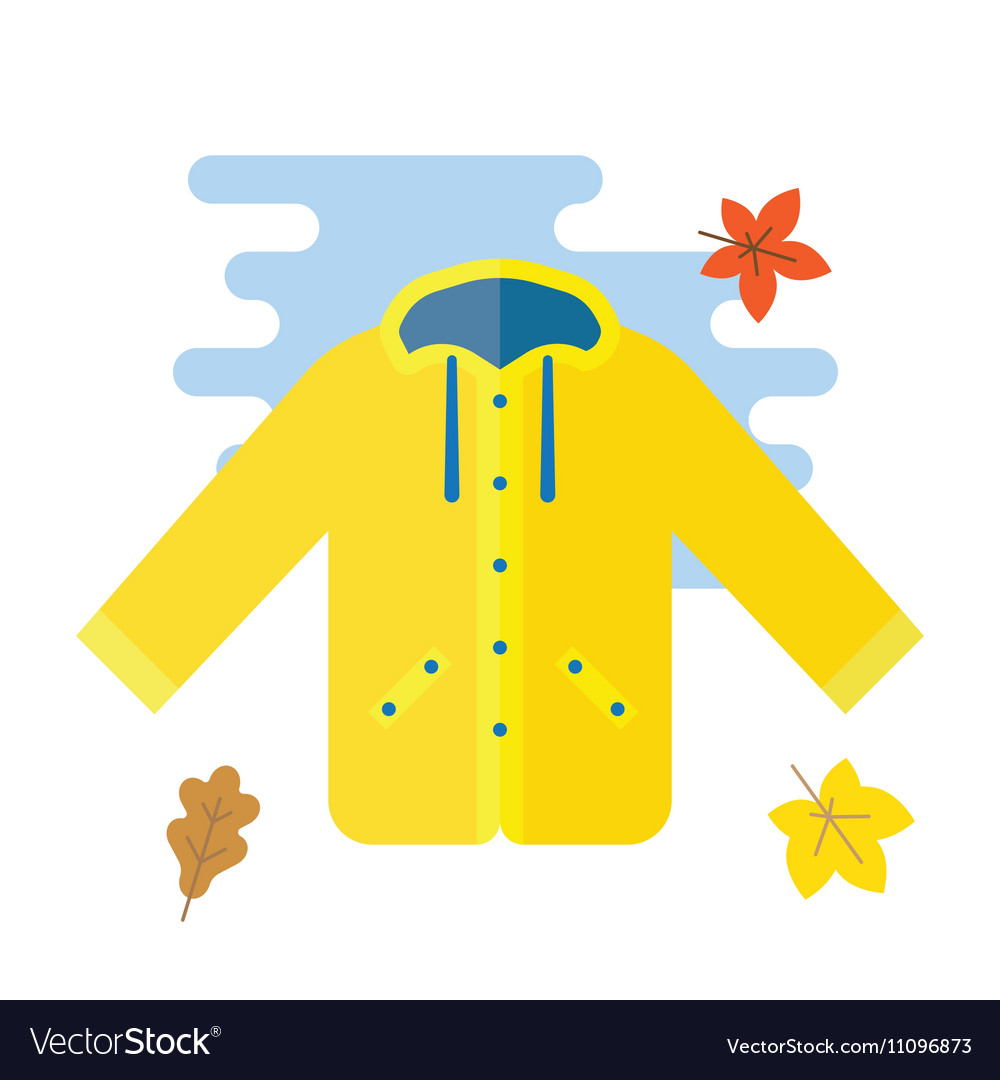 Yellow raincoat waterproof clothes vector image