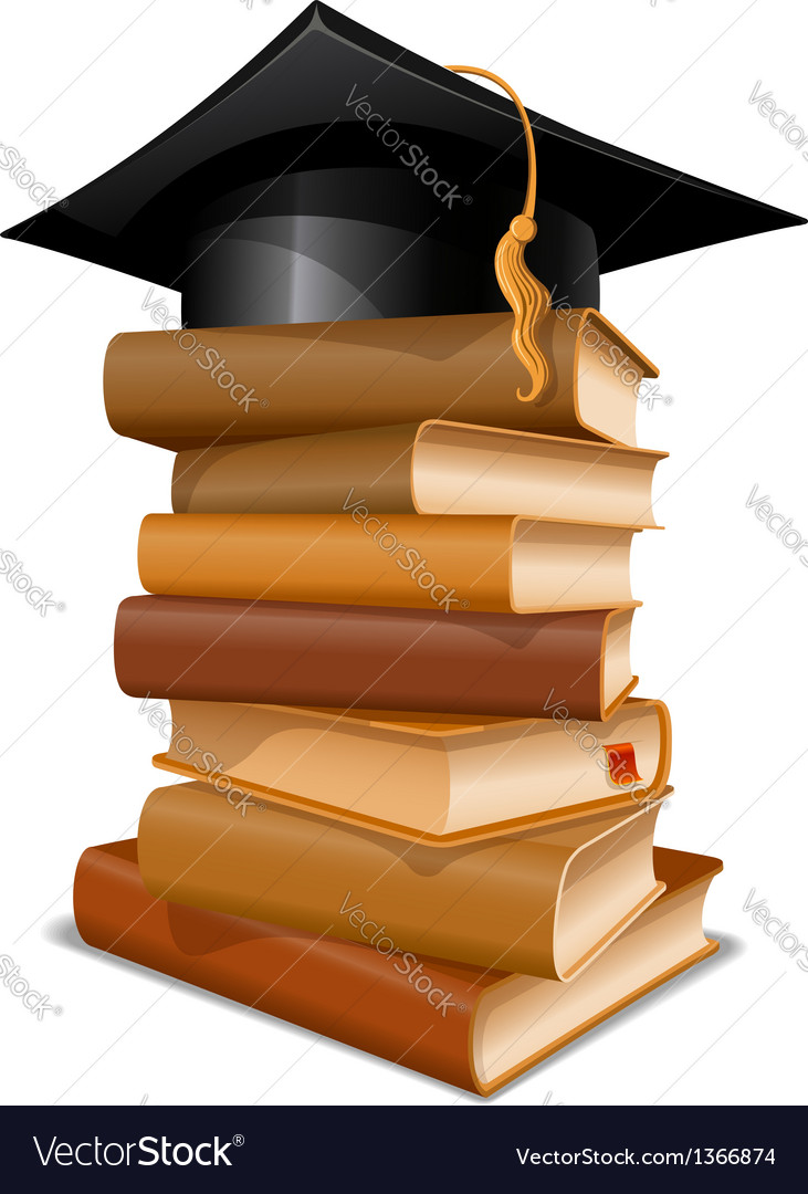 Books with graduation cap vector image