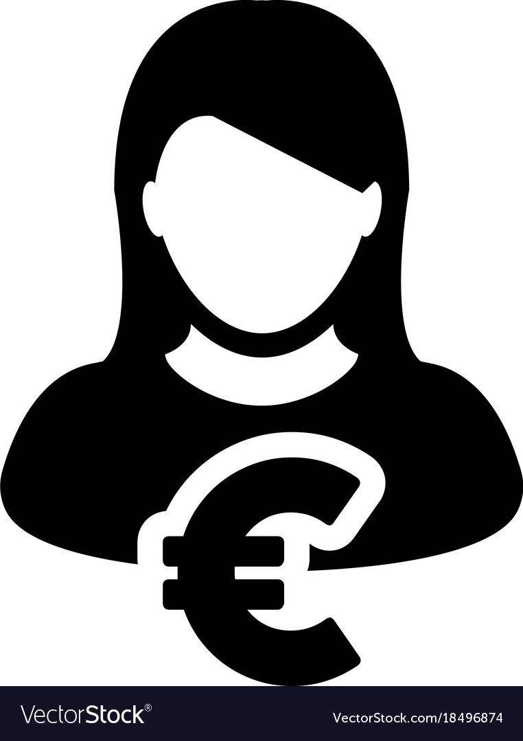 Euro sign icon symbol currency female person vector image buycottarizona Choice Image