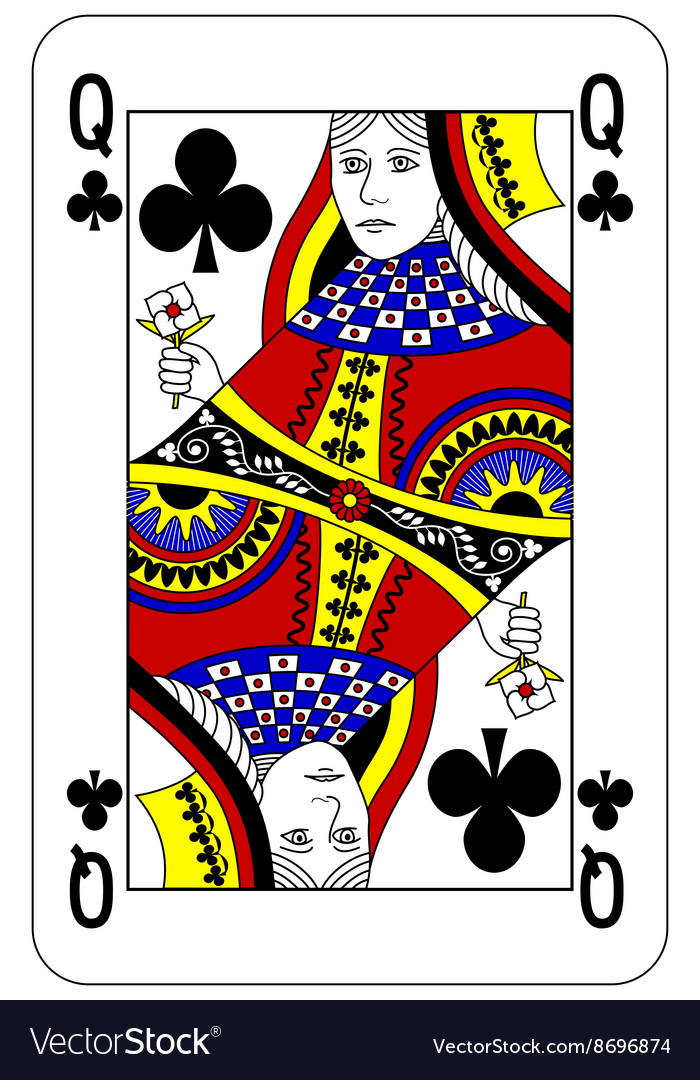 Poker playing card Queen club vector image