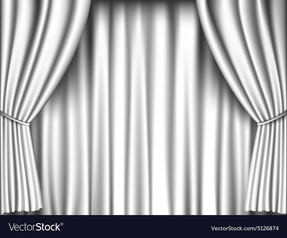 Black and white stage curtain - White Curtain Vector Image