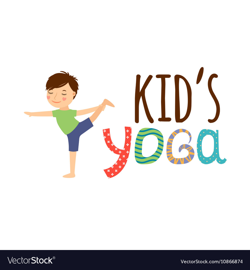 Yoga kids isolated logo vector image