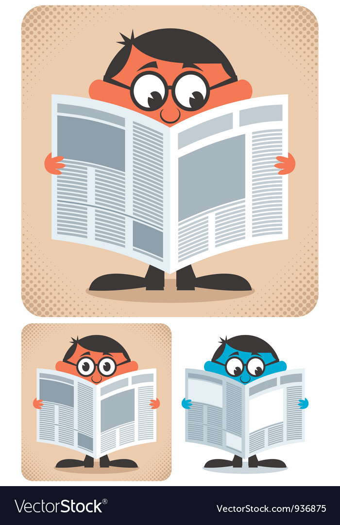 Reading Newspaper vector image