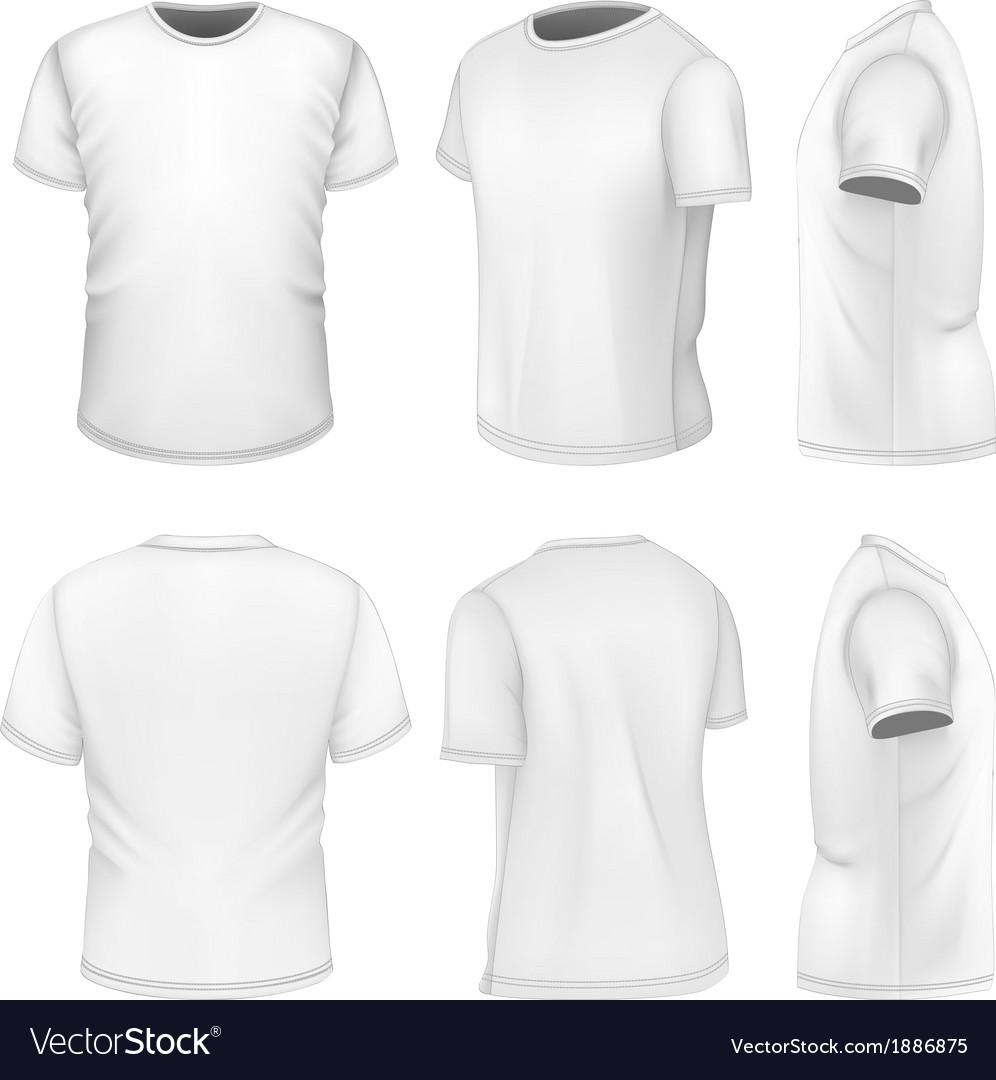 All six views mens white short sleeve t-shirt vector image
