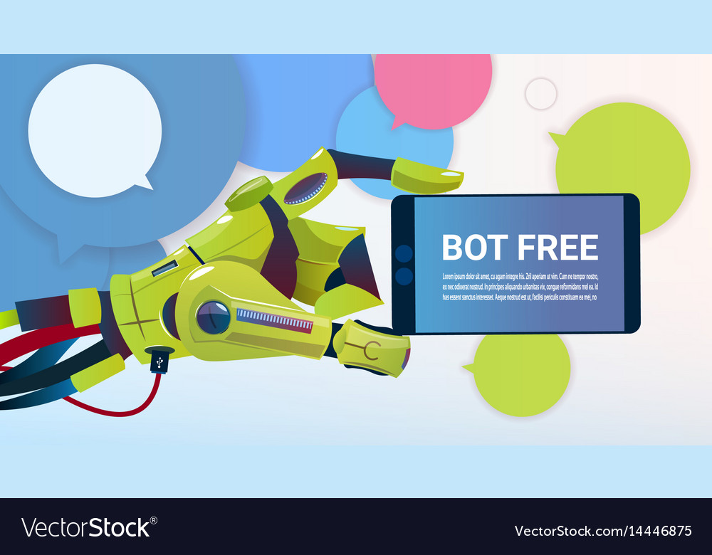 Chat bot hands using cell smart phone robot vector image