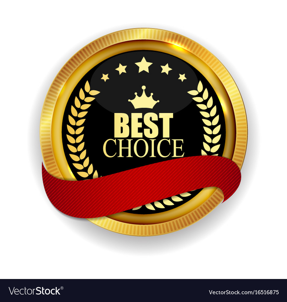 Premium quality best choice golden medal icon seal vector image