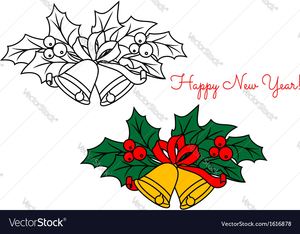 Christmas bell with holiday decorations vector image