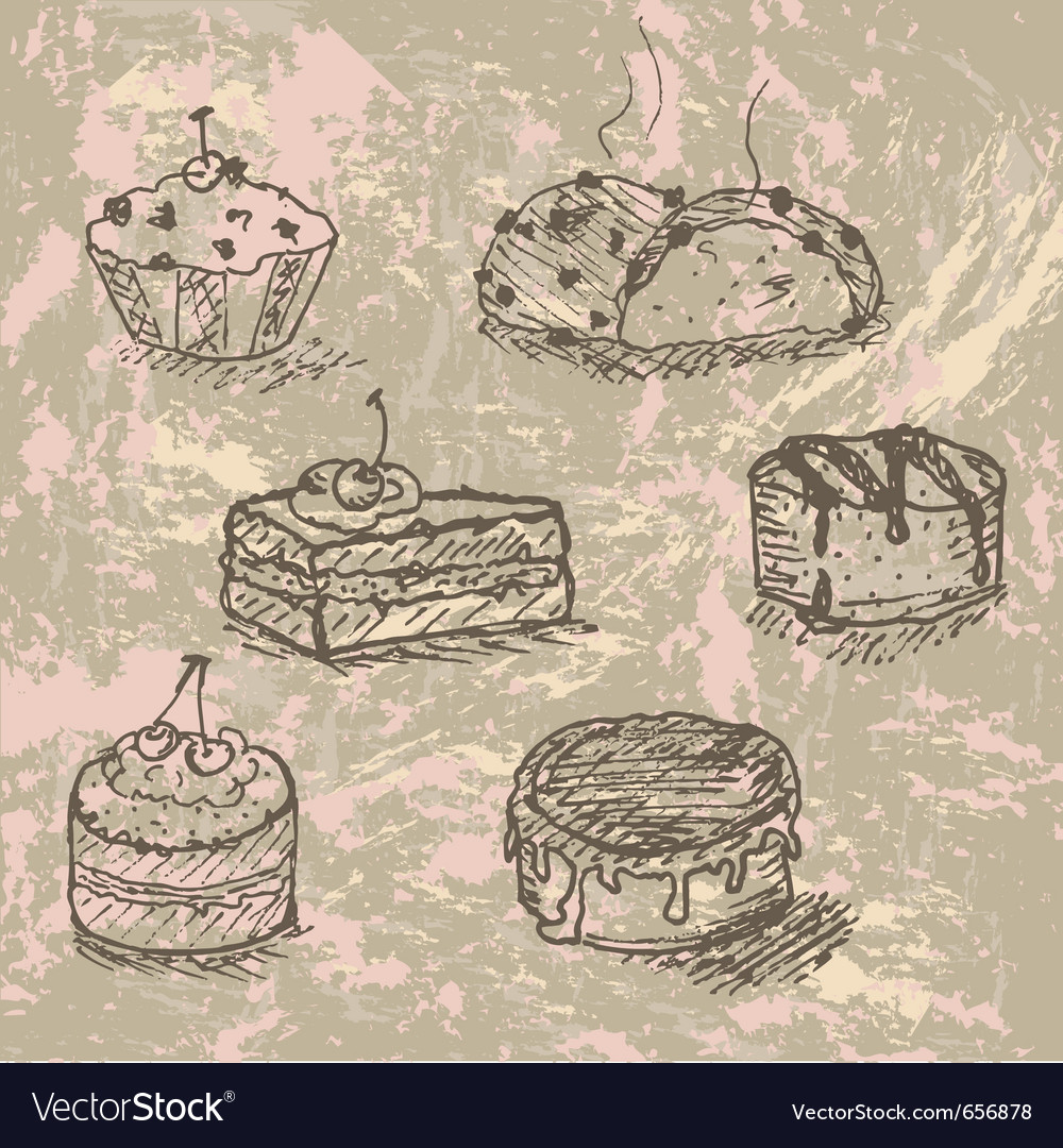 Vintage cakes vector image