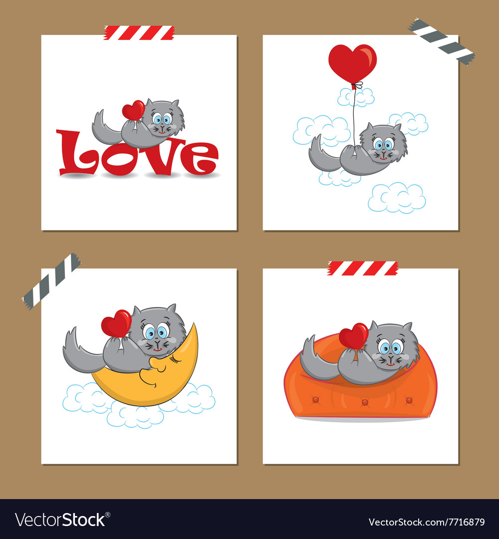 Cute Valentines day cards with funny cat vector image