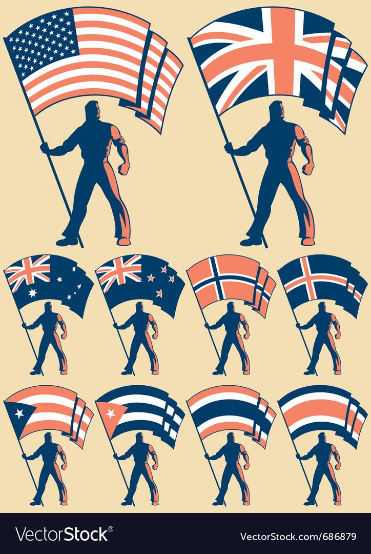 Flag bearer 2 vector image