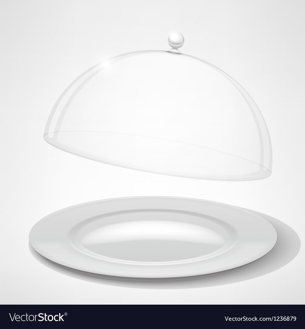 Food tray restaurant cloche vector image