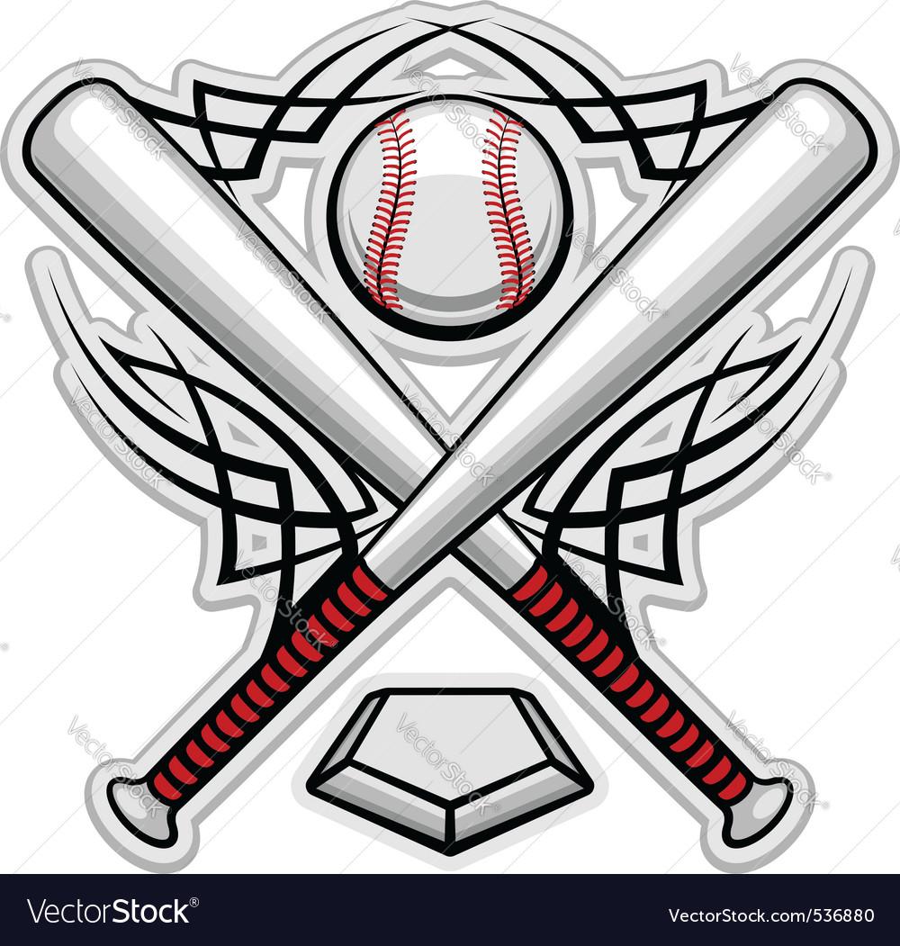 Baseball emblem for sports design or mascot vector image