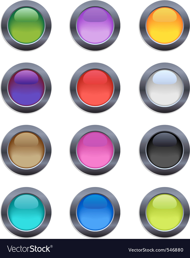 Color crystal buttons vector image