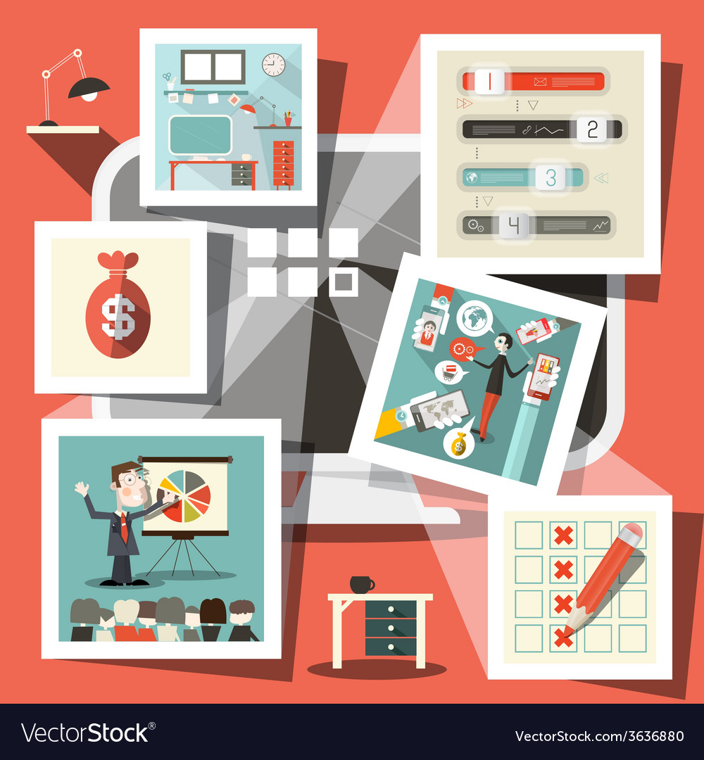 Computer with Business Icons vector image