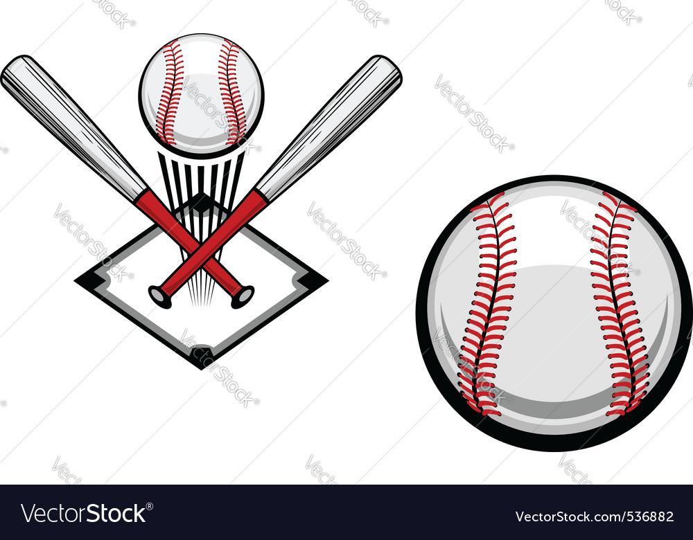 Baseball emblems set for sports design or mascot vector image