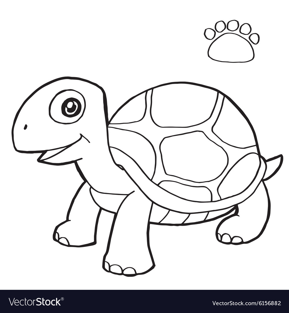 paw print with turtle coloring page royalty free vector