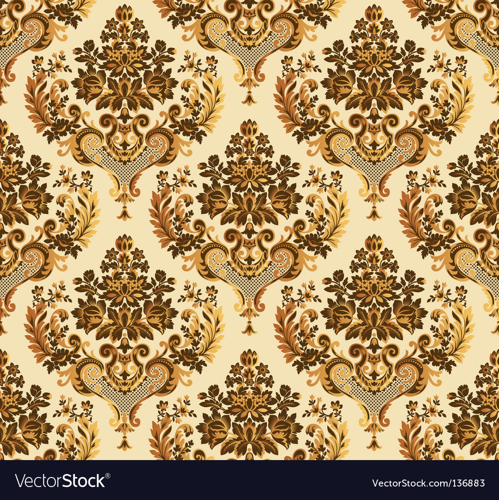 Vintage floral yellow vector image