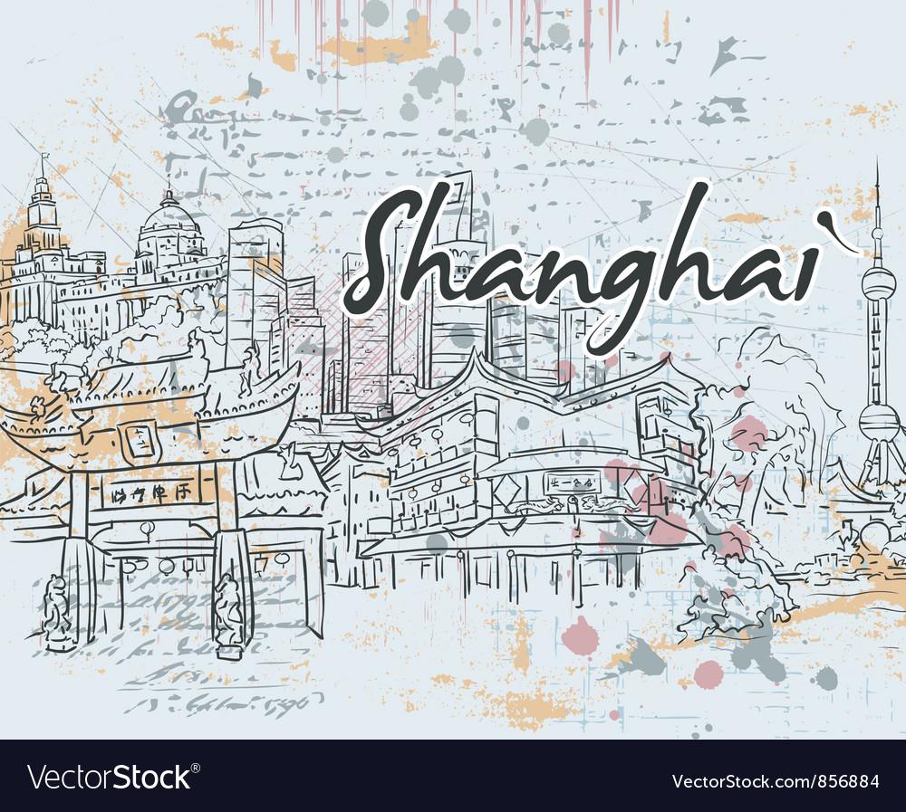 Shanghai doodles vector image