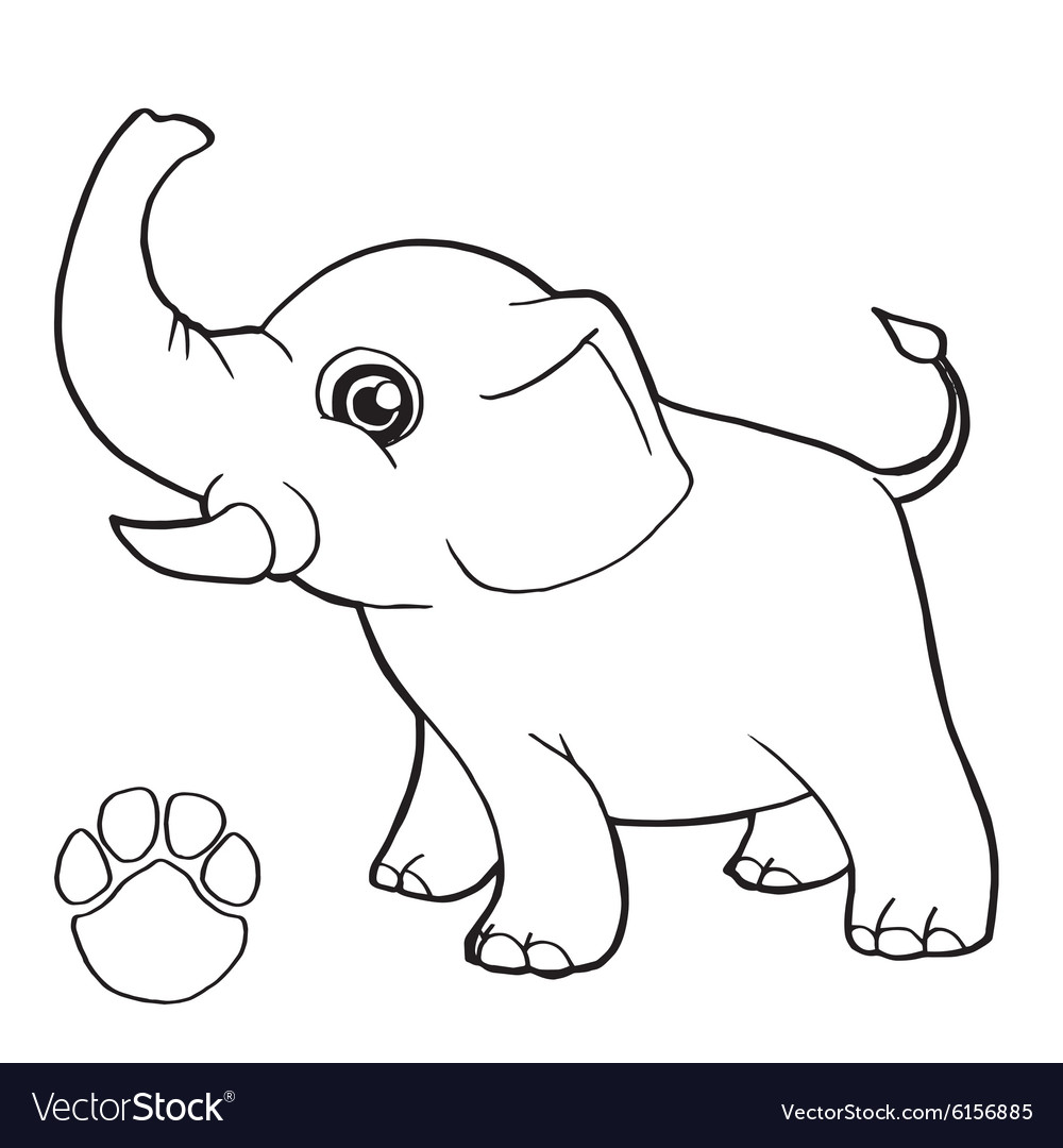 paw print with elephant coloring page royalty free vector