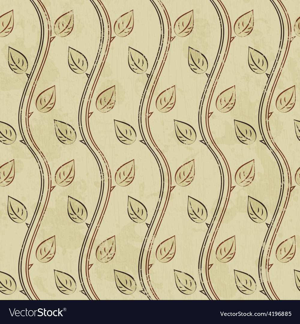 Vintage branch seamless pattern with grunge effect vector image