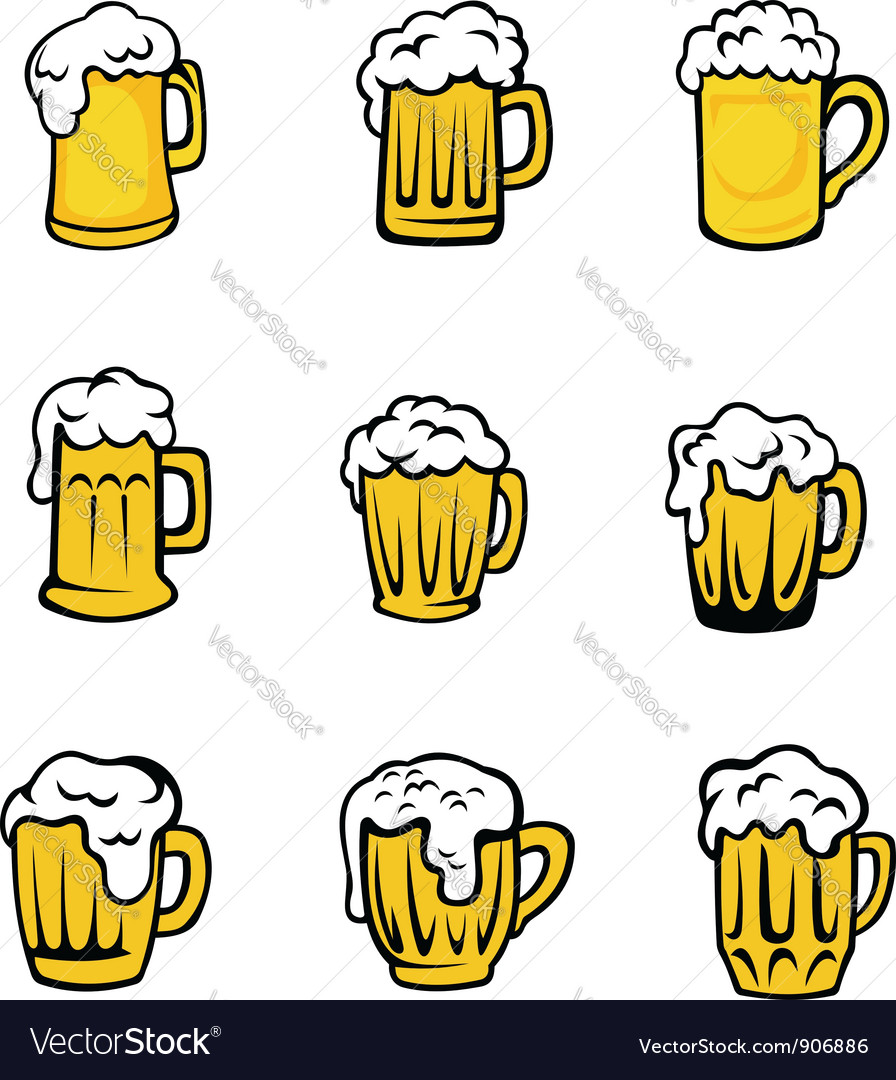 Set of beer glasses vector image
