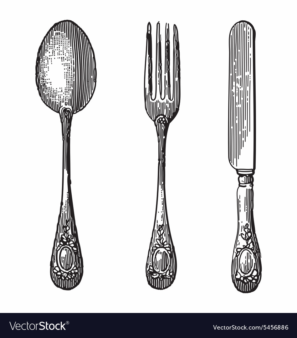 Spoon knife and fork vector image