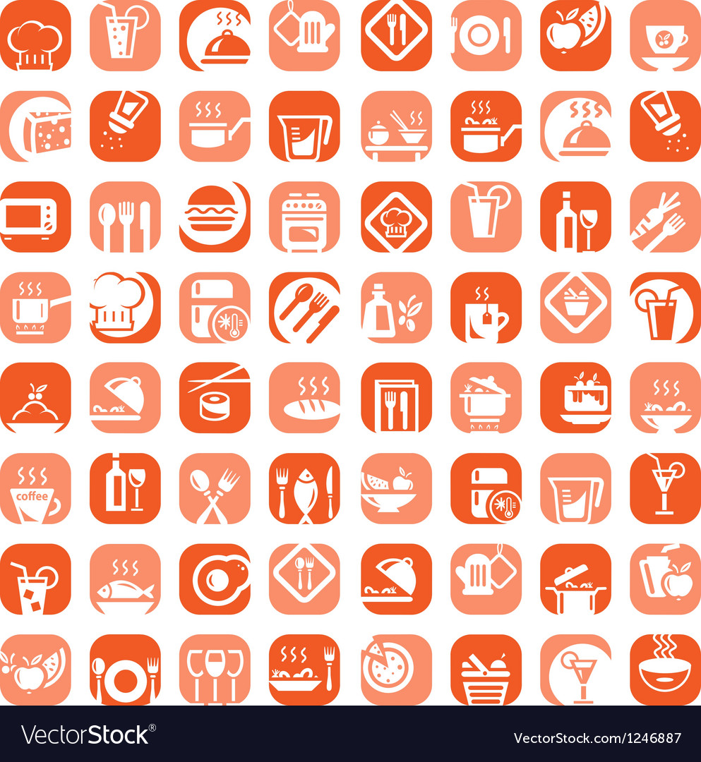 Big color kitchen icons set vector image