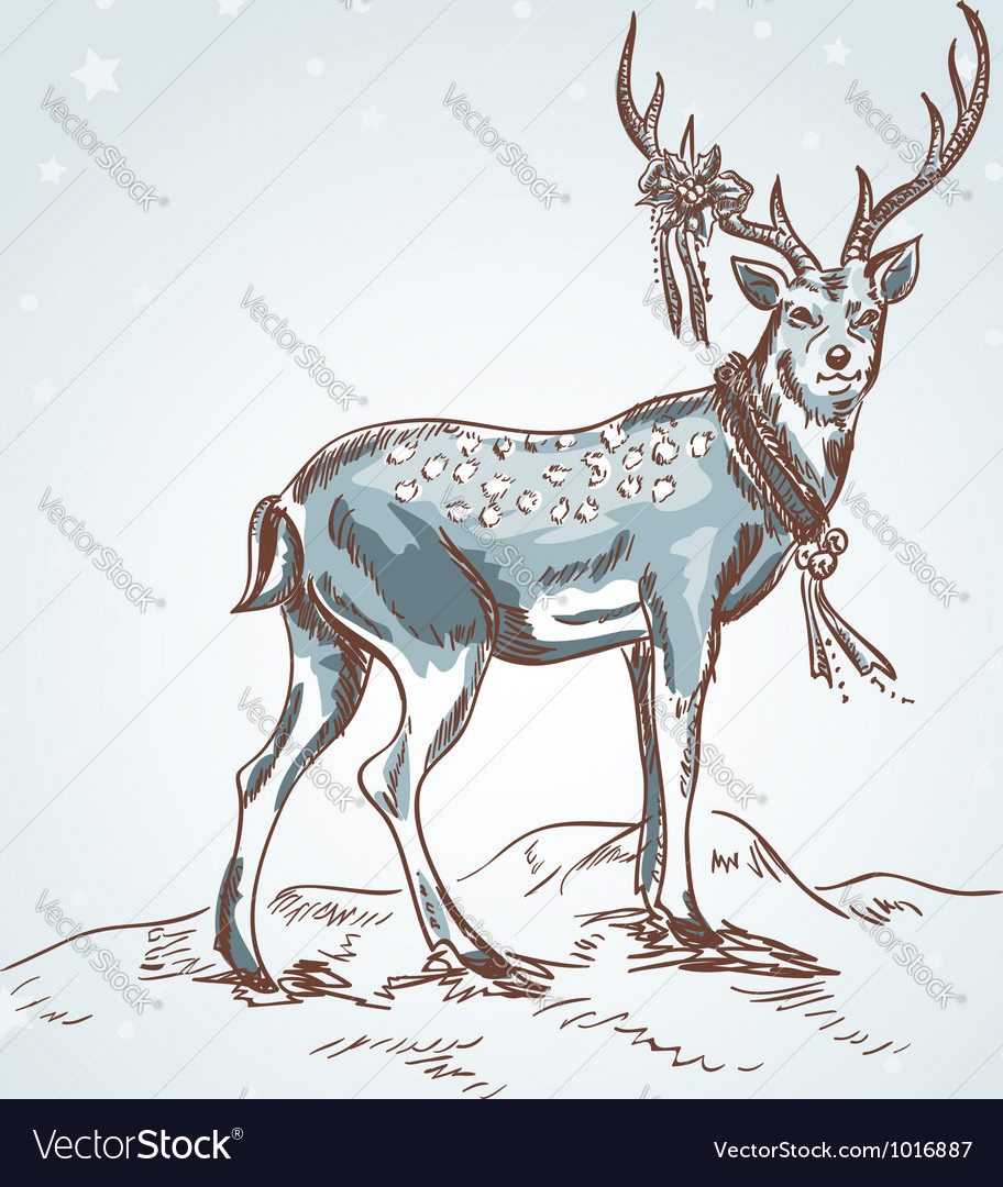 Cute Christmas hand drawn retro postcard with deer vector image