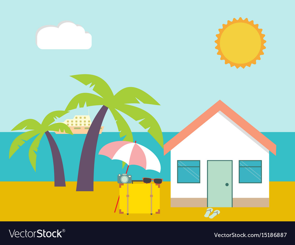Summer beach beach house on palms and sea vector image