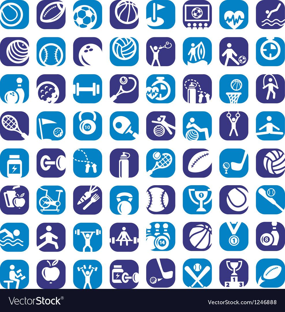 Big color sports icons set vector image