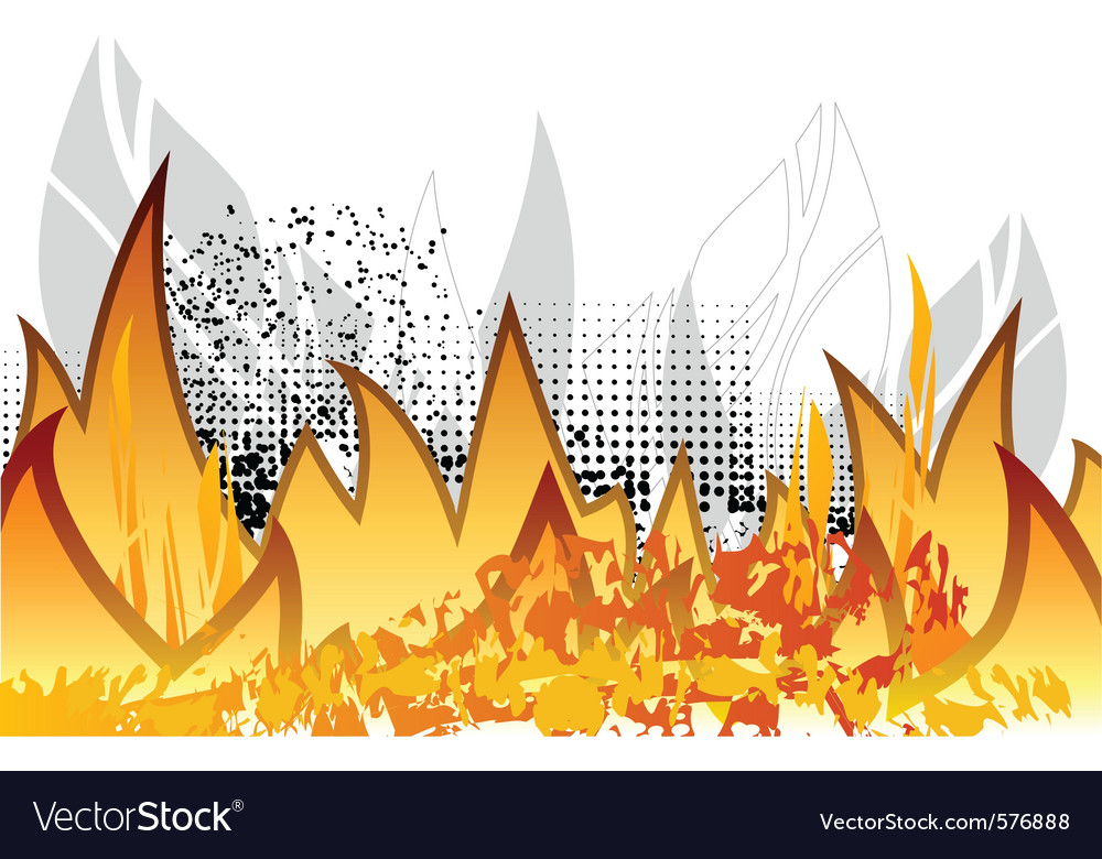 Abstract fire on the white vector image