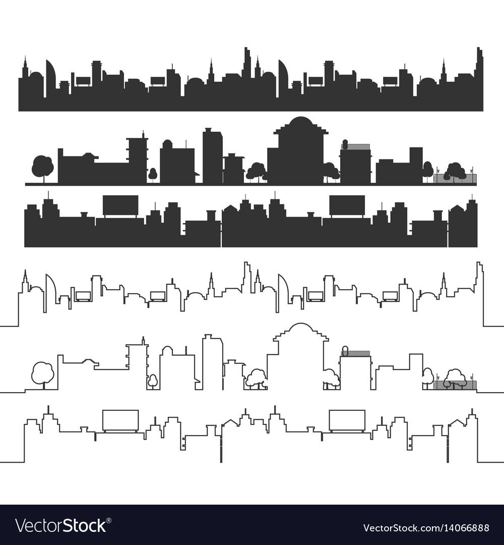 Cities silhouette landscape black set vector image