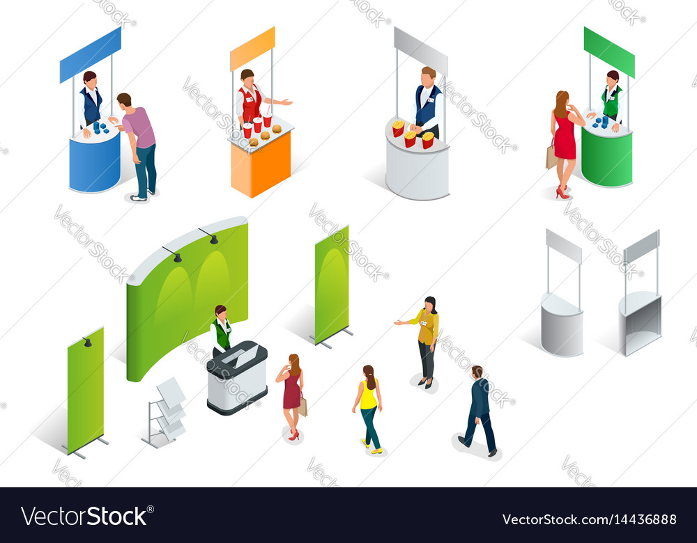 Isometric set of promotion stands on a white vector image