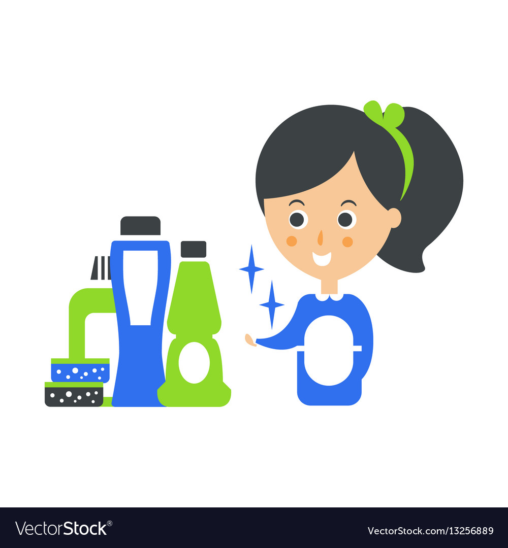 Cleanup service maid and set of household vector image