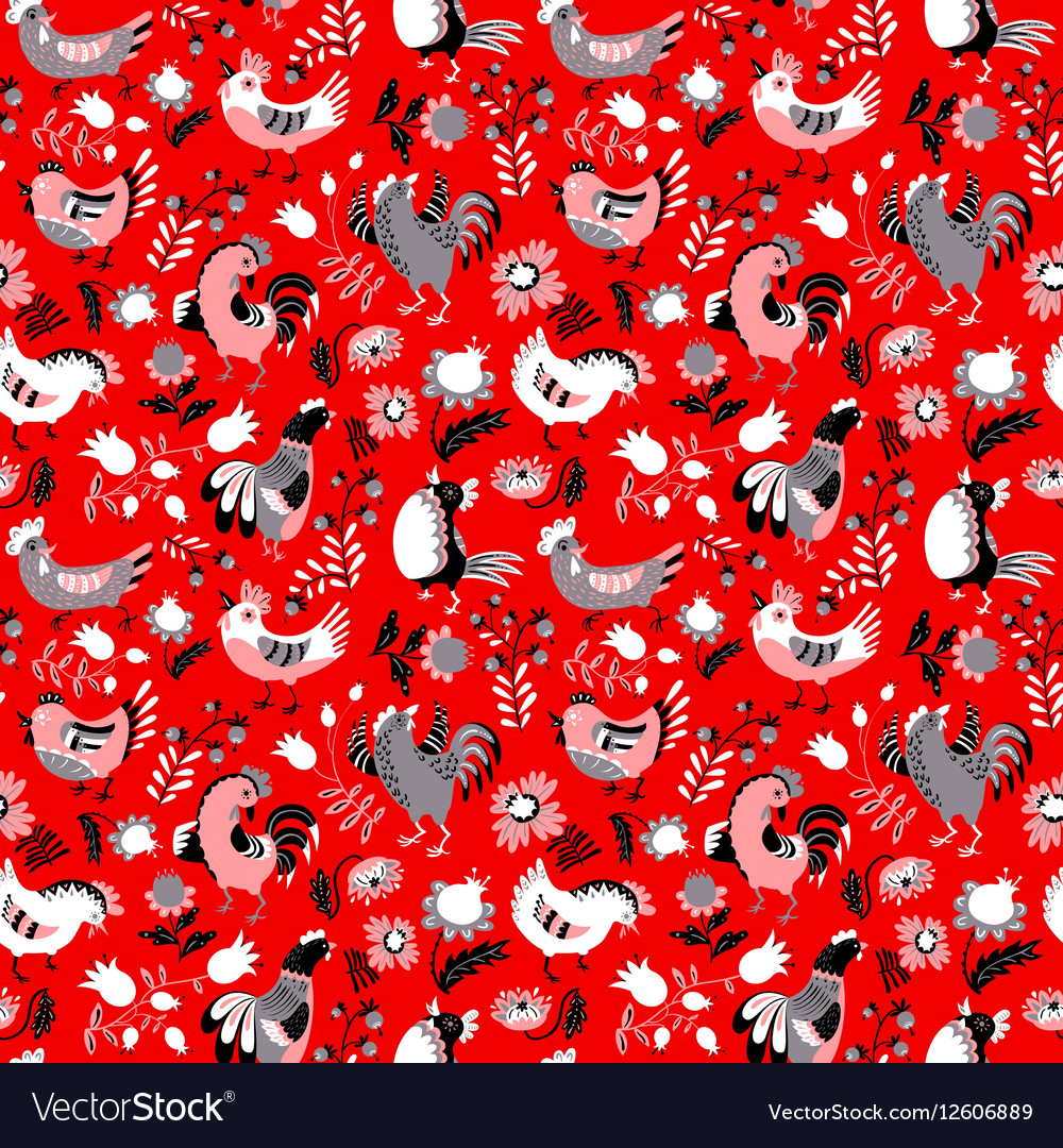 Cute decorative floral background with hen vector image