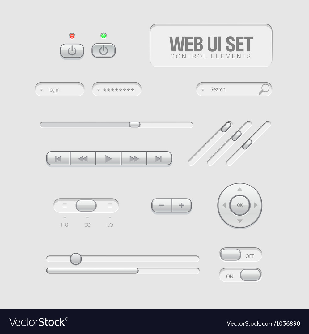Light Web UI Elements Vector Image
