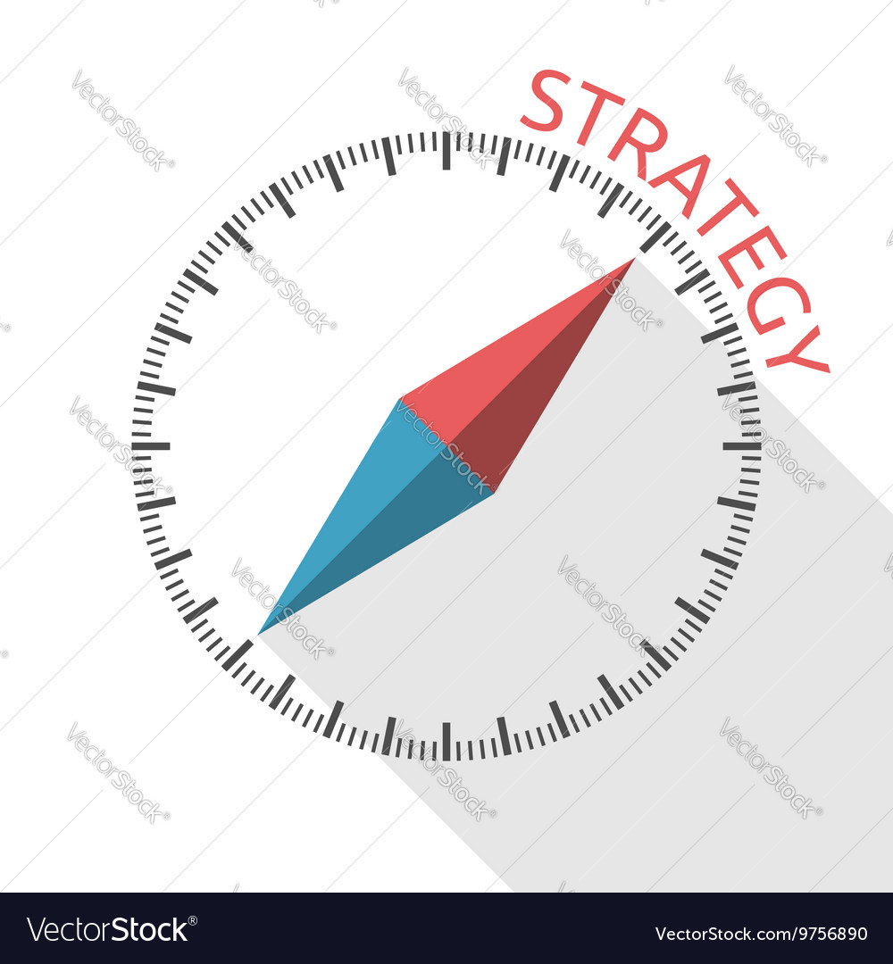 Compass showing strategy direction vector image