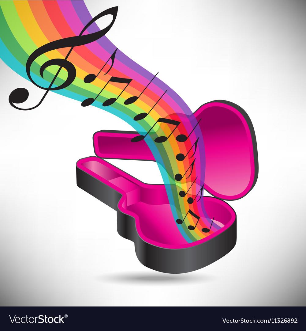 Guitar Case Rainbow notes vector image