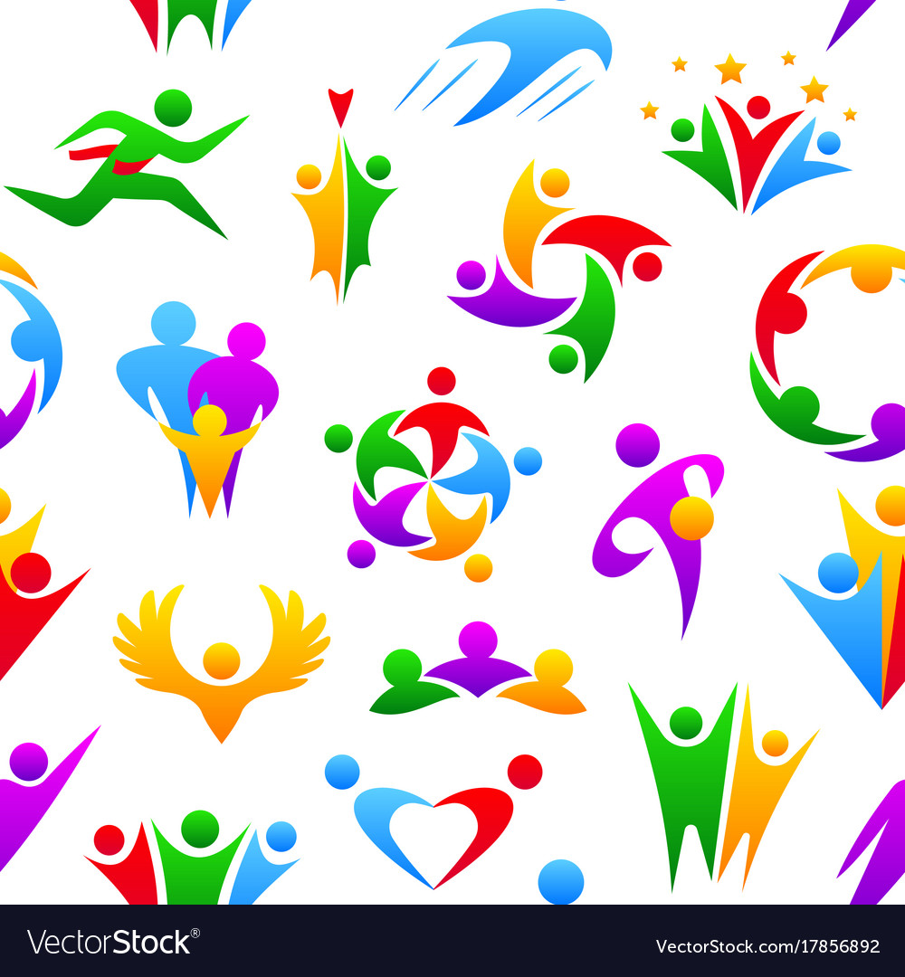 Silhouette of abstract people shape logo human vector image