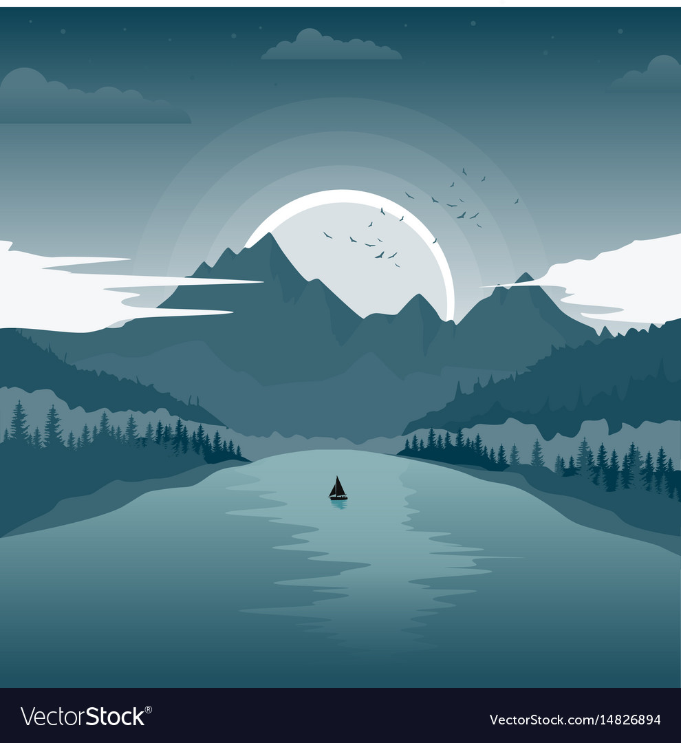Beautiful landscape with mountain lake at dawn vector image