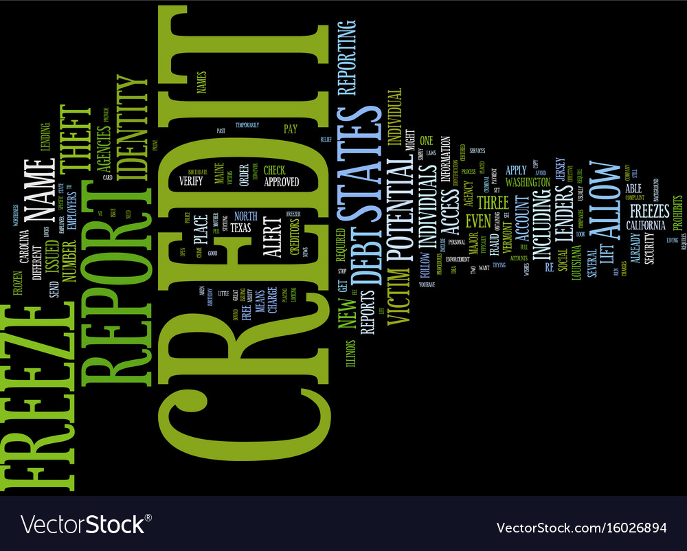 Freeze your credit text background word cloud vector image