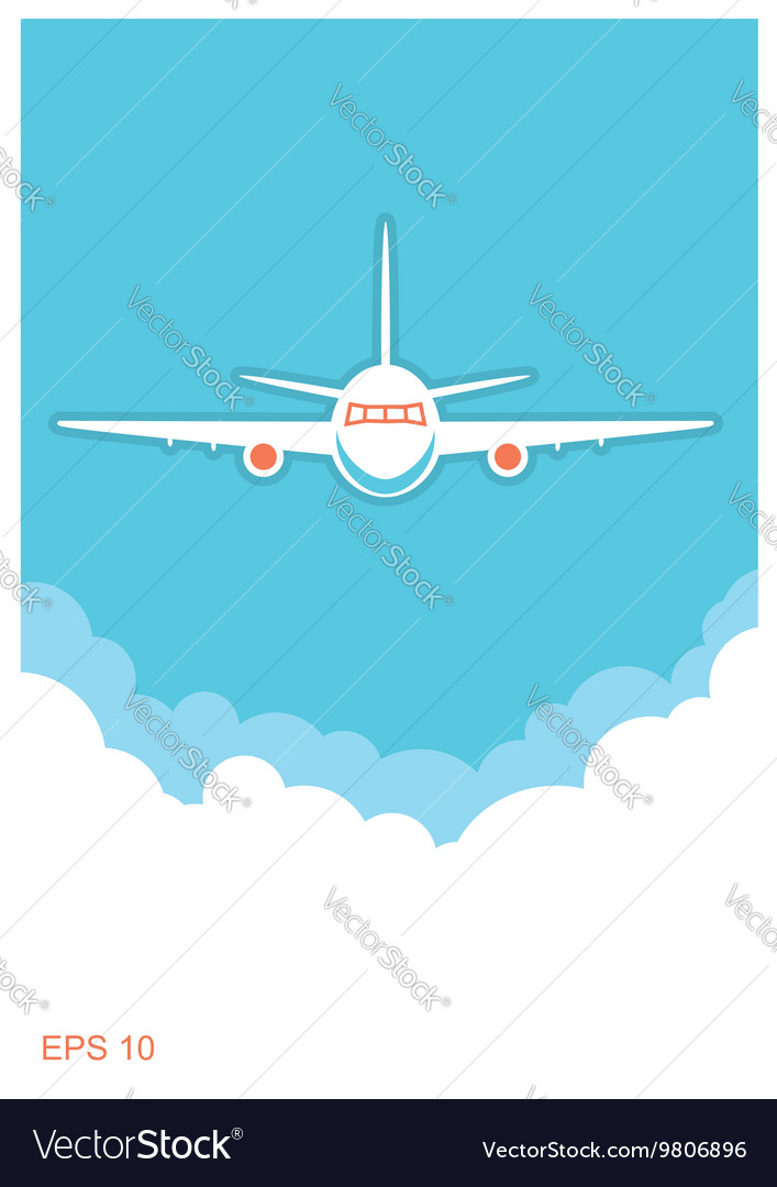 Airplane and sky blue poster background vector image
