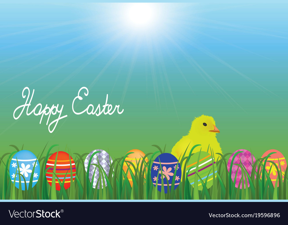Chick in the meadow with easter eggs vector image